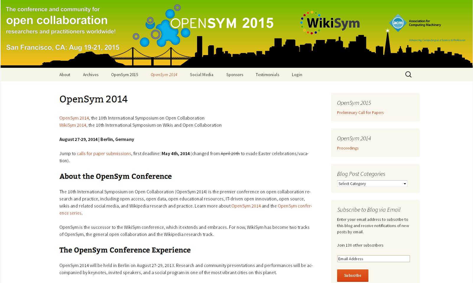 OPENSYM 2014 - 10th International Symposium on Open Collaboration