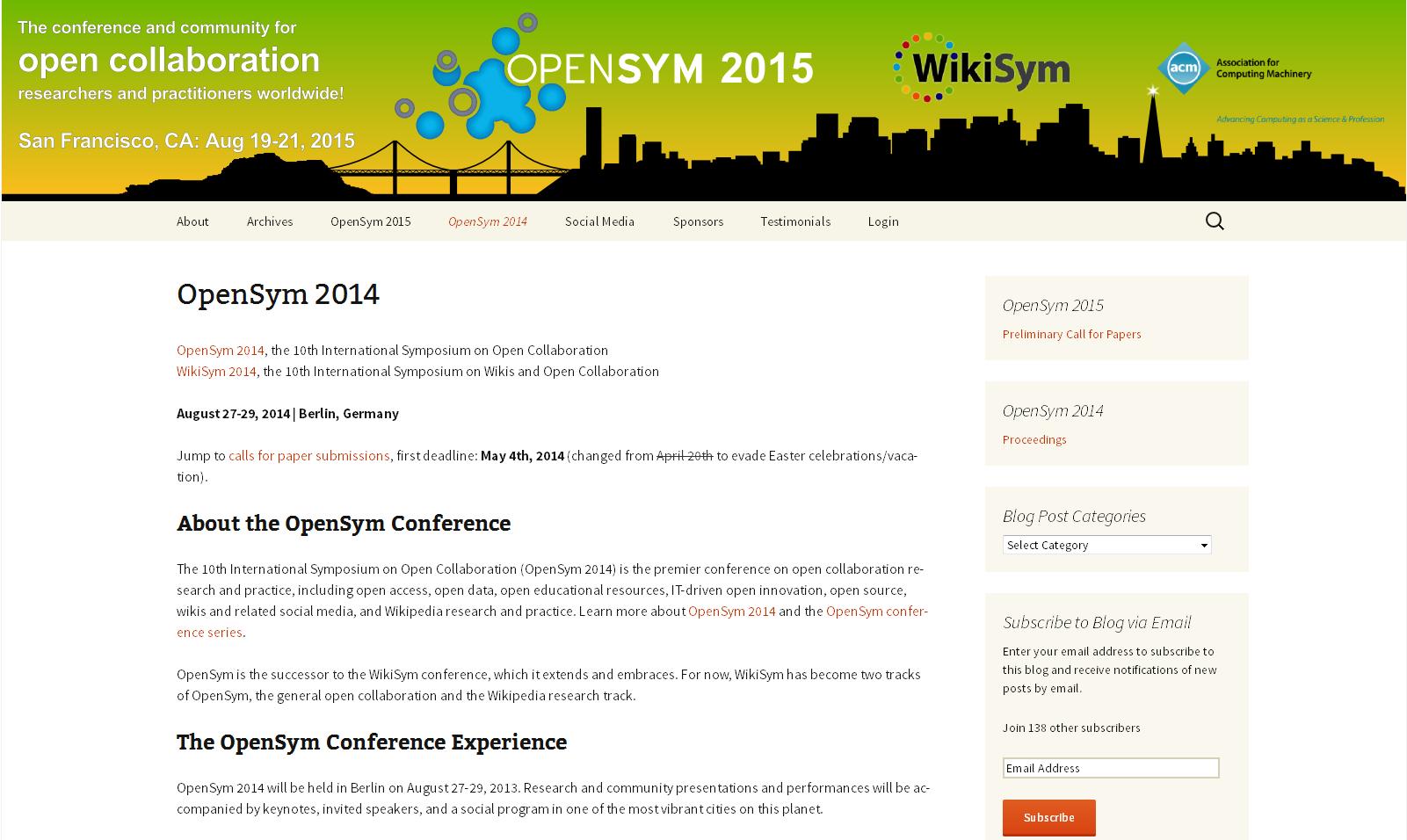 OPENSYM 2014 - 10th International Symposium on Open Collaboration